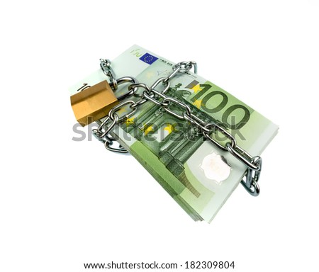euro banknotes with chain and padlock. symbolic photo for security and inflation. - stock photo