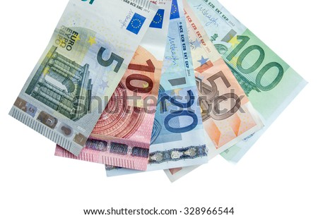 euro banknotes with different denomination and coins, isolated - stock photo