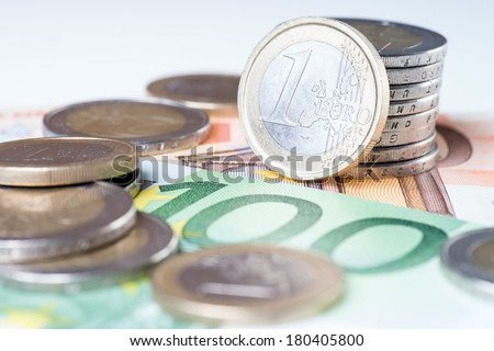 Euro Banknotes with euro coins / Euro Money - stock photo