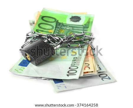 Euro banknotes with lock and chain, isolated on white - stock photo