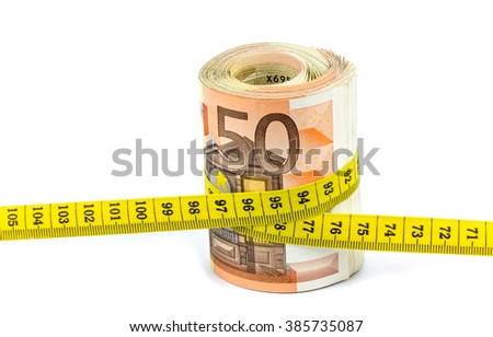euro banknotes with measure tape on white background
