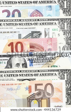 Euro Bills Dollar Bills Background Stock Photo 444136729