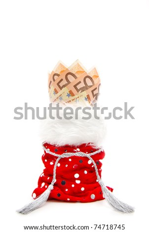 euro bills fanned in a red present-bag isolated on a white background - stock photo