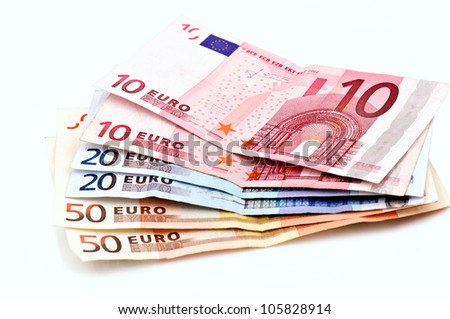 Euro bills isolated on white - stock photo