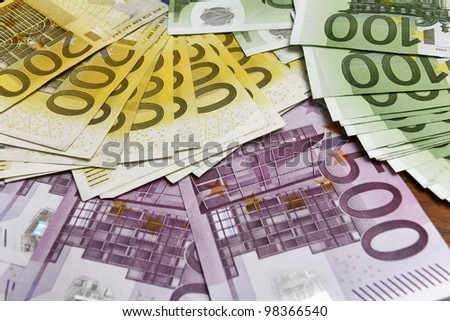 Euro bills, money