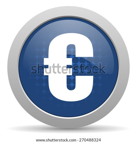 euro blue glossy web icon  - stock photo