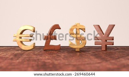 Euro, british pound, dollar and yen symbols on a wooden red table illustration.
