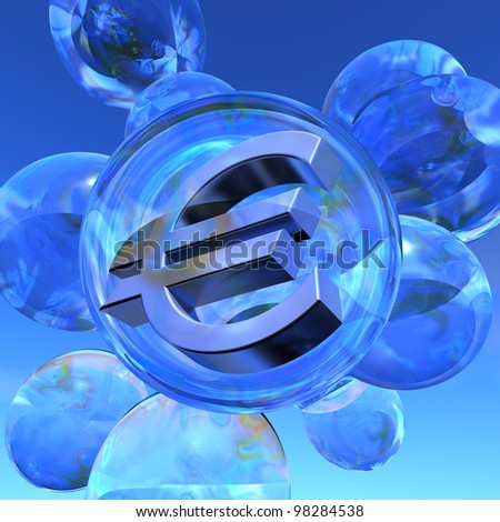 Euro bubble Illustration of the Euro sign in silver in a soap bubble surrounded by several empty soap bubbles - stock photo