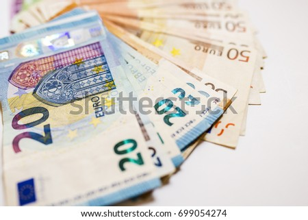 Euro cash. Many Euro banknotes of different values. Euro cash background. pile of paper euro banknotes as part of the united country's payment system