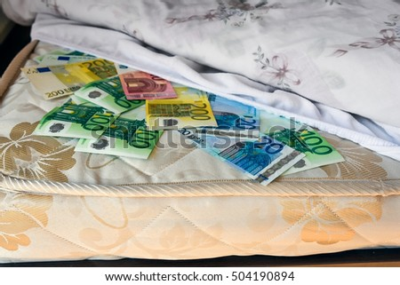 Euro cash safely kept under bed sheet