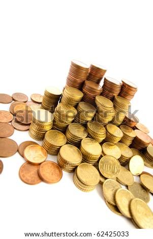 euro cents coin pile - stock photo