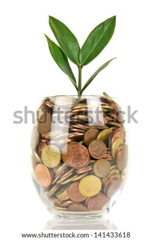 Euro cents in glass isolated on white - stock photo
