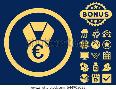 Euro Champion Medal icon with bonus pictures. Glyph illustration style is flat iconic symbols, yellow color, blue background.