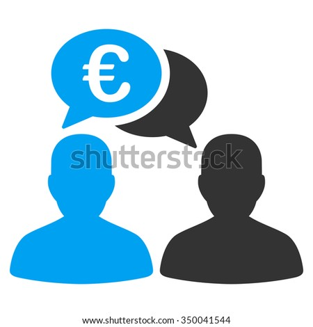 Euro Chat glyph icon. Style is bicolor flat symbol, blue and gray colors, rounded angles, white background. - stock photo