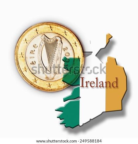 Euro coin and Irish flag against white background - stock photo