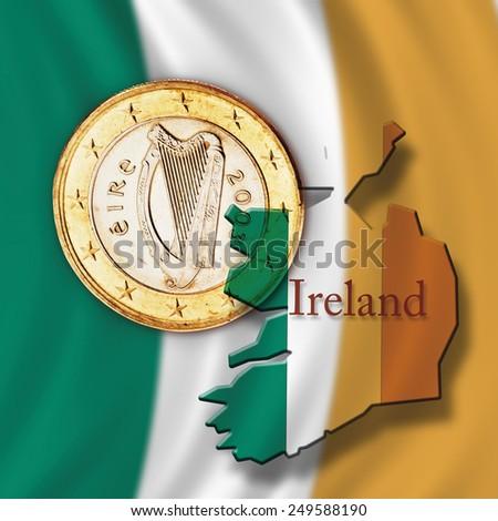 Euro coin and Irish flag, close up - stock photo