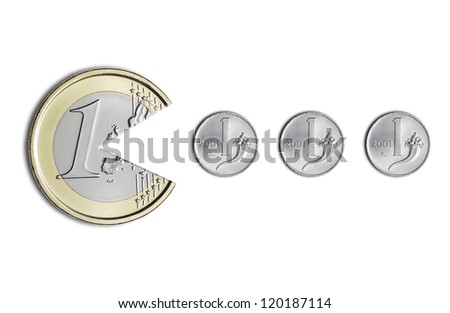 euro coin eating Italian lire coins, on a white background - stock photo
