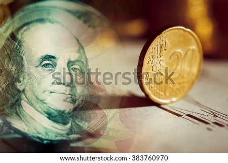 Euro coin on stock chart. Selective focus. Macro image. - stock photo