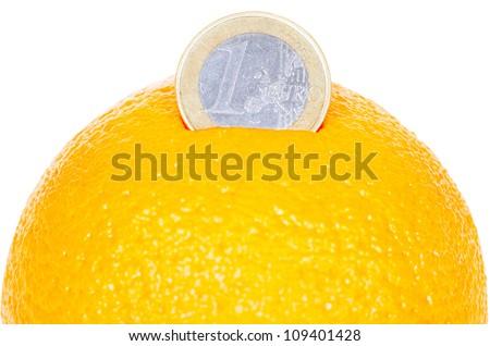 euro coin on the orange isolated on white background - stock photo