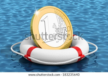 Euro coin on the water lifebuoy - stock photo
