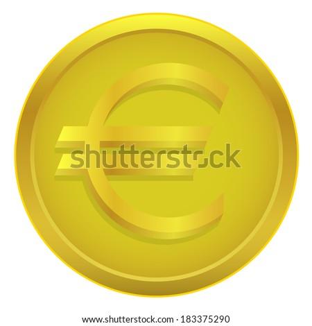 Euro coin on the white background. Raster illustration.  - stock photo