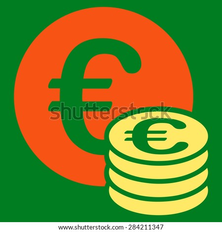 Euro coin stack from BiColor Euro Banking Icon Set. Glyph style: flat bicolor, orange and yellow symbol, rounded angles, green background.
