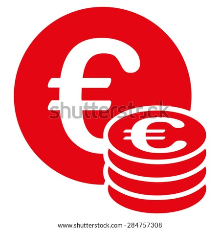 Euro coin stack from BiColor Euro Banking Icon Set. Glyph style: flat, red symbol, rounded angles, white background. - stock photo