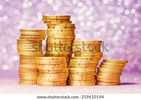 Euro coin stack over abstract background - stock photo