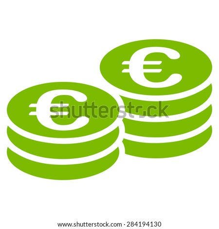 Euro coin stacks from BiColor Euro Banking Icon Set. Glyph style: flat, eco green symbol, rounded angles, white background. - stock photo