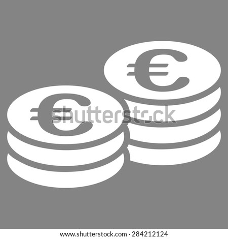 Euro coin stacks from BiColor Euro Banking Icon Set. Glyph style: flat, white symbol, rounded angles, gray background. - stock photo
