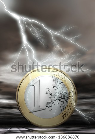 Euro Coin with Flash - stock photo
