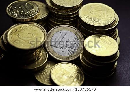 Euro coins. - stock photo