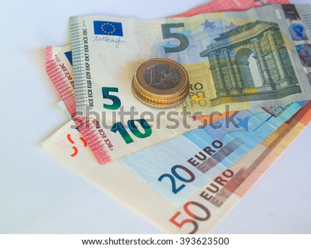 Euro coins and banknotes currency of the European Union - stock photo