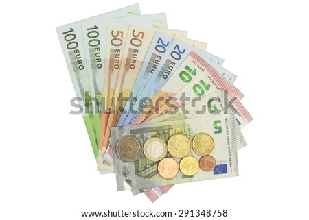 Euro coins and banknotes. Detailed view of the legal tender of the European Union, EU. The uncertain future of the euro. Isolated on white. - stock photo