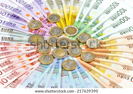 euro coins and banknotes. european currency. money background - stock photo