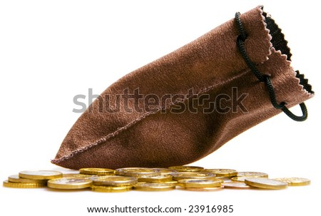 Euro coins and money bag isolated on white - stock photo