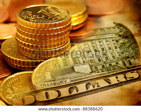 Euro coins and us dollar banknote background. Finance concept confrontation between the dollar and euro. - stock photo