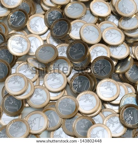 Euro Coins Background (Money Conceptual Picture) - stock photo