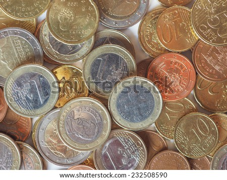 Euro coins - currency of the European Union