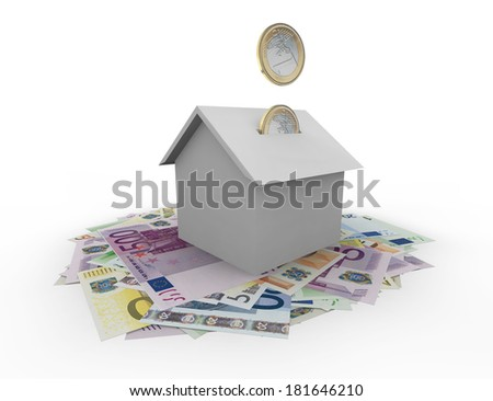Euro coins falling in a house with bank notes - stock photo