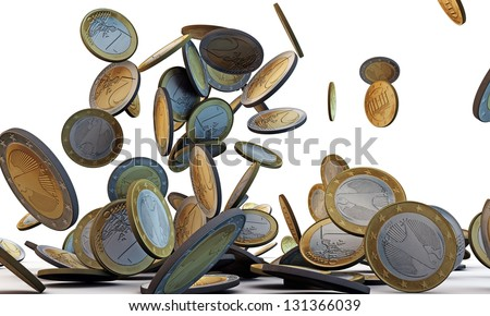 euro coins falling isolated on white background