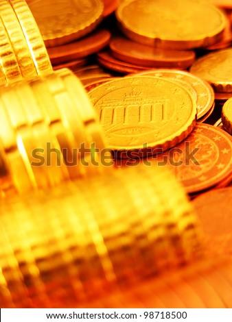 Euro coins. Finance concept. - stock photo
