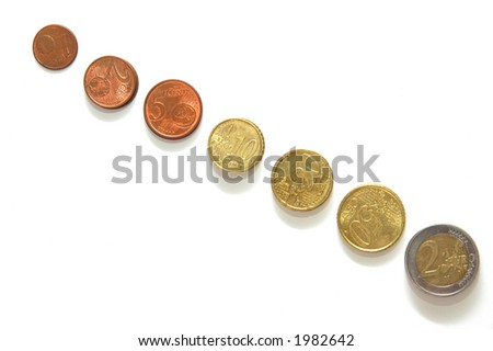 Euro coins from top