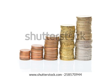 Euro coins in columns isolated on white