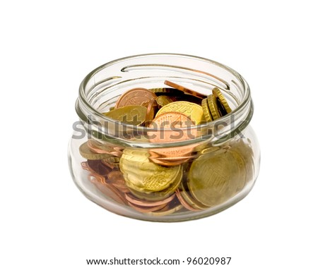 Euro coins in jar isolated on white background