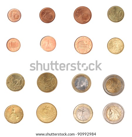Euro coins including both the international and national side of Italy