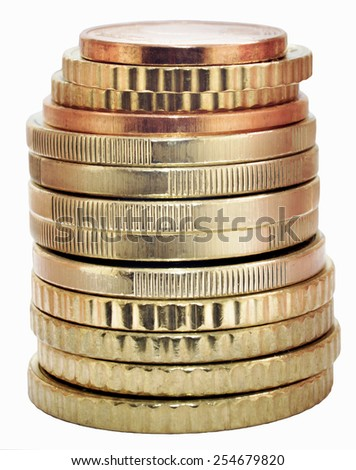 Euro coins isolated on a white background - stock photo