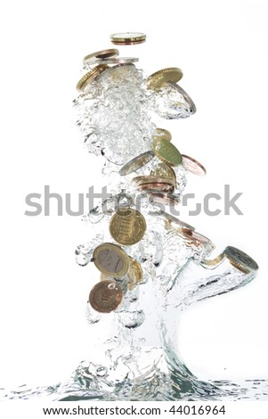 Euro coins jumping out of the clear water