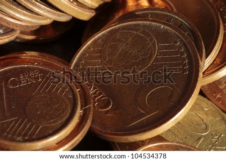 euro coins scene expressing the problems of economic crisis and the need to save
