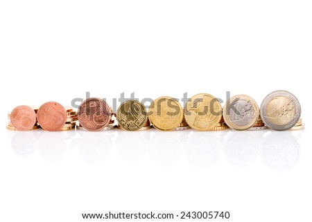 Euro coins set isolated on a white background - stock photo